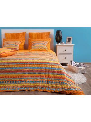 Двуспальное постельное белье Хлопковый Край. Бязь-люкс. Край. Цвет: синий, светло-оранжевый, красный