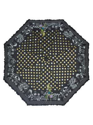 Зонт складной Happiness Black Emme. Цвет: черный, белый, золотистый