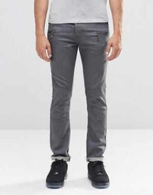 Loyalty & Faith Серые зауженные джинсы с карманами на молнии. Цвет: серый