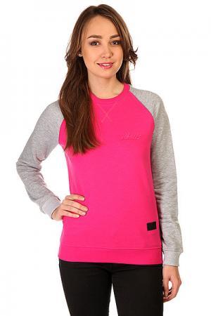 Толстовка свитшот женская  Script Logo 4v Crewneck Crimson/Grey Melange Skills. Цвет: серый,розовый