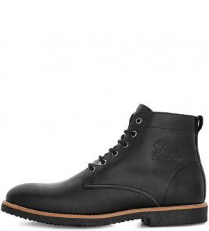 Черные кожаные ботинки на шнуровке Panama Jack. Цвет: черный