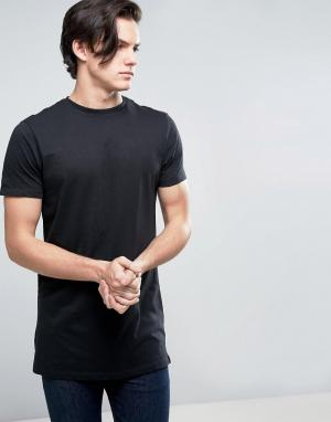 New Look Длинная черная футболка. Цвет: черный