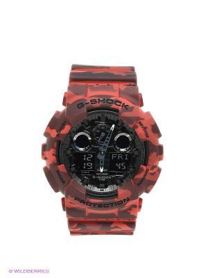 Часы G-SHOCK GA-100CM-4A CASIO. Цвет: красный