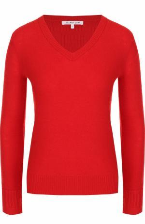 Пуловер из смеси шерсти и кашемира с V-образным вырезом Helmut Lang. Цвет: красный