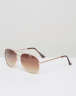 7X Солнцезащитные очки-авиаторы. Цвет: золотой
