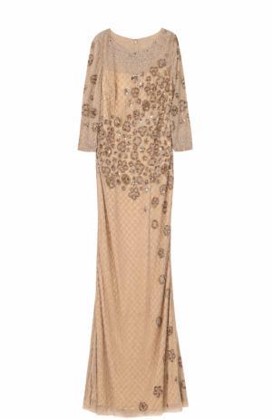 Приталенное платье-макси с вышивкой Basix Black Label. Цвет: золотой