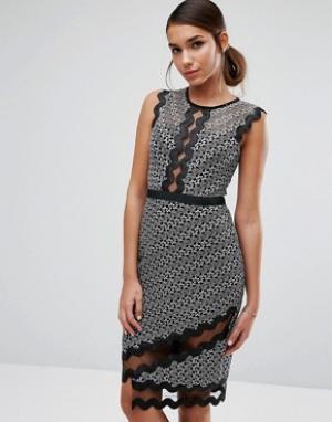 Three Floor Платье-футляр миди с контрастным кружевом и окантовкой. Цвет: мульти