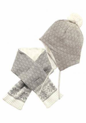 Комплект: шапка + шарф KLITZEKLEIN. Цвет: светло-серый/молочно-белый
