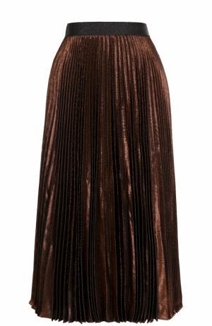 Плиссированная шелковая юбка с металлизированной отделкой Christopher Kane. Цвет: бронзовый