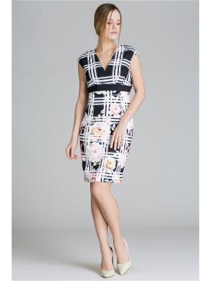 Коктейльное платье футляр с геометрическим принтом и розами Nothing but Love