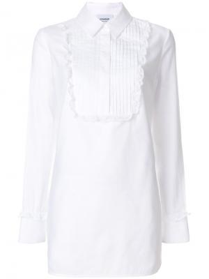 Удлиненная рубашка с нагрудником Dondup. Цвет: белый