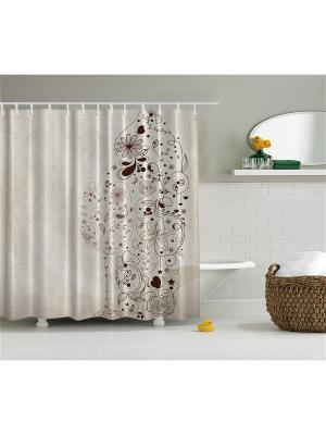 Фотоштора для ванной Бокал цветочного вина, 180*200 см Magic Lady. Цвет: коричневый, серый