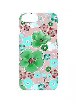 Чехол для iPhone 7Plus Зеленые цветы Арт. 7Plus-182 Chocopony. Цвет: зеленый, бежевый