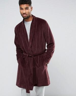 ASOS Велюровый халат. Цвет: красный