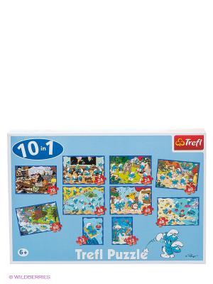 10 в 1- Веселые Смурфы Trefl. Цвет: синий, белый, голубой, желтый, зеленый, красный, морская волна