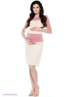 Платье для беременных ФЭСТ. Цвет: кремовый, розовый