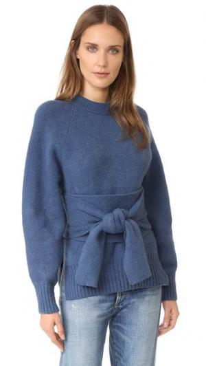 Пуловер с рукавами реглан и поясом оби 3.1 Phillip Lim. Цвет: марлин голубой