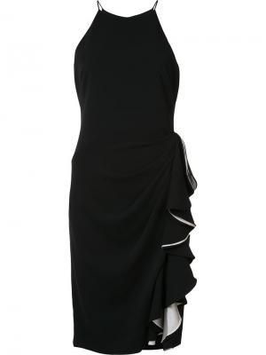 Платье с оборками Badgley Mischka. Цвет: чёрный