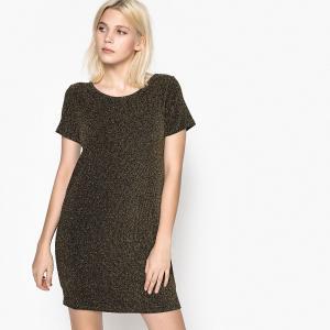 Платье короткое, прямое, однотонное с короткими рукавами SCHOOL RAG. Цвет: золотисто-черный