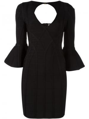 Облегающее платье с расклешенными рукавами Hervé Léger. Цвет: чёрный