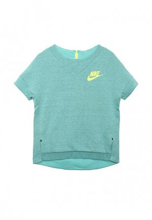 Футболка спортивная Nike. Цвет: мятный