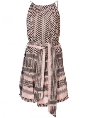 Платье на тонких лямках с поясом Cecilie Copenhagen. Цвет: розовый и фиолетовый
