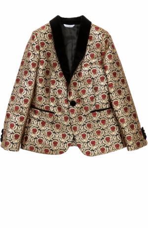 Пиджак таксидо из парчи с контрастными лацканами Dolce & Gabbana. Цвет: золотой