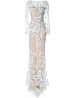 Вечернее платье со шлейфом и блестящей отделкой Zuhair Murad. Цвет: телесный