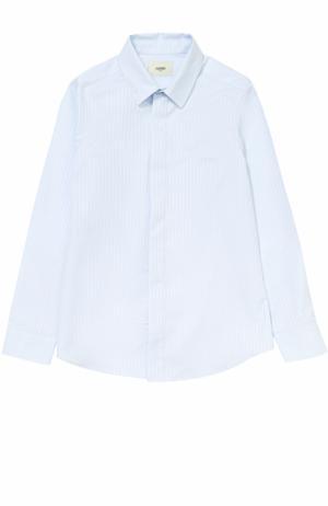 Хлопковая рубашка прямого кроя в полоску Fendi Roma. Цвет: голубой