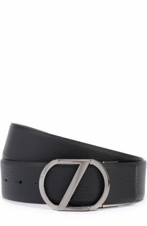 Кожаный ремень с фигурной пряжкой Z Zegna. Цвет: черный