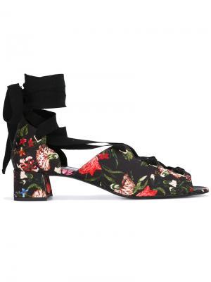 Floral lace-up shoes Erdem. Цвет: чёрный