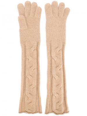 Удлиненные вязаные перчатки Loro Piana. Цвет: коричневый