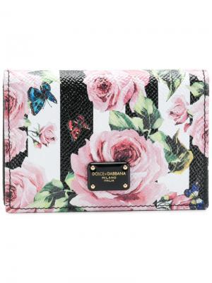 Кошелек с принтом роз Dolce & Gabbana. Цвет: чёрный