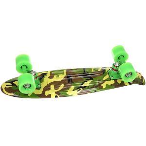 Скейт мини круизер Turbo-Fb Сamouflage Black/Green/Brown 6 x 22 (56 см). Цвет: зеленый,коричневый,черный