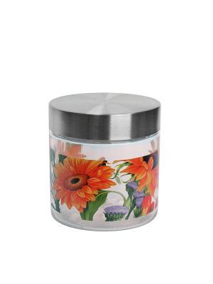 Банка Подсолнухи 350мл Elff Ceramics. Цвет: серебристый, оранжевый