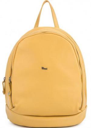Желтый кожаный рюкзак с двумя отделами Bruno Rossi. Цвет: желтый