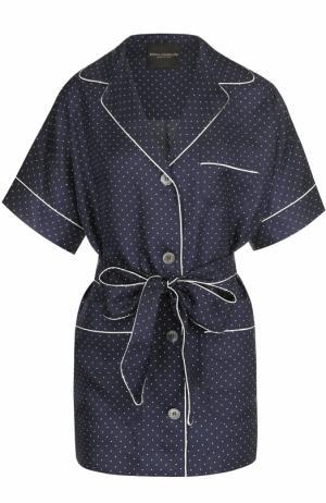 Шелковая блуза в пижамном стиле с поясом Erika Cavallini. Цвет: синий