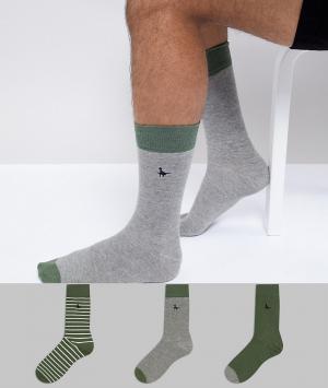 Jack Wills Набор из 3 пар носков в серо-зеленой гамме Alandale. Цвет: зеленый