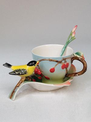 Чайная пара Pavone. Цвет: голубой (осн.), желтый