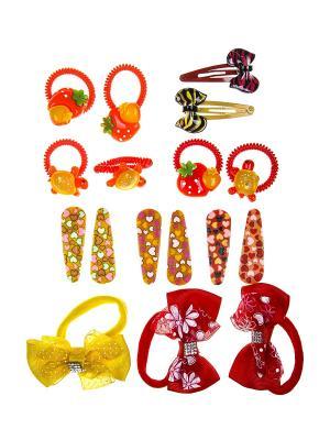 Комплект детский (Резинки - 9 шт., заколка 8 шт.) Happy Charms Family. Цвет: красный, оранжевый, желтый