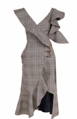 Приталенное платье-миди с оборками self-portrait. Цвет: разноцветный