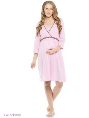 Сорочка для беременных и кормящих ФЭСТ. Цвет: розовый