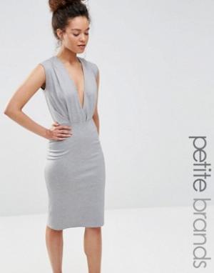 Alter Petite Платье-футляр длины миди с V-образным вырезом. Цвет: серый