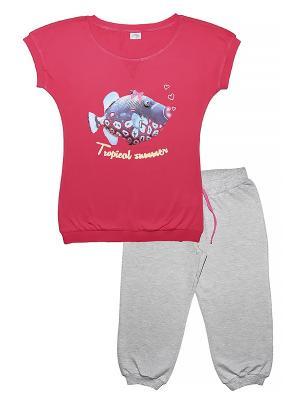 Комплект женский (футболка, бриджи) Family Colors. Цвет: малиновый