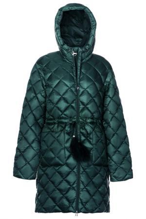 Пальто с поясом ODRI Mio. Цвет: зеленый