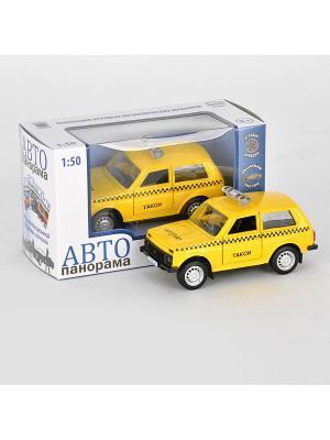 Машинка металлическая инерц. Такси 1:50, открываются двери в/к АВТОПАНОРАМА. Цвет: желтый, черный, зеленый
