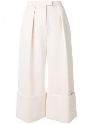 Широкие укороченные брюки Delpozo. Цвет: розовый и фиолетовый