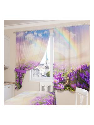 Фотошторы Радуга после дождя Сирень. Цвет: розовый, желтый, зеленый, голубой, фиолетовый