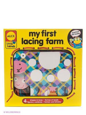 Игрушка-шнуровка Веселая ферма Alex. Цвет: желтый