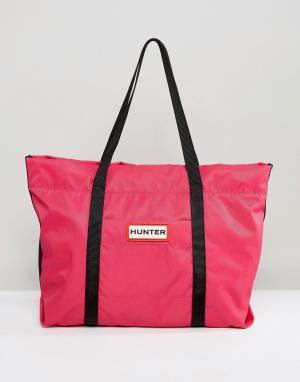 Hunter Ярко-розовая нейлоновая сумка-тоут Original. Цвет: розовый